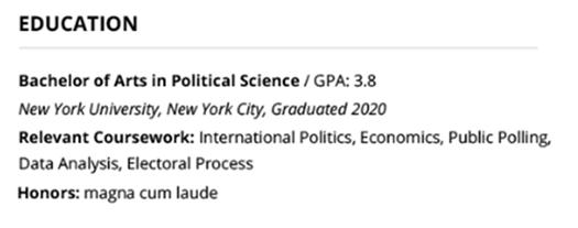 college graduate resume education example