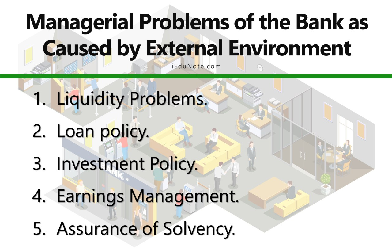 managerial problems of bank as caused by external environment