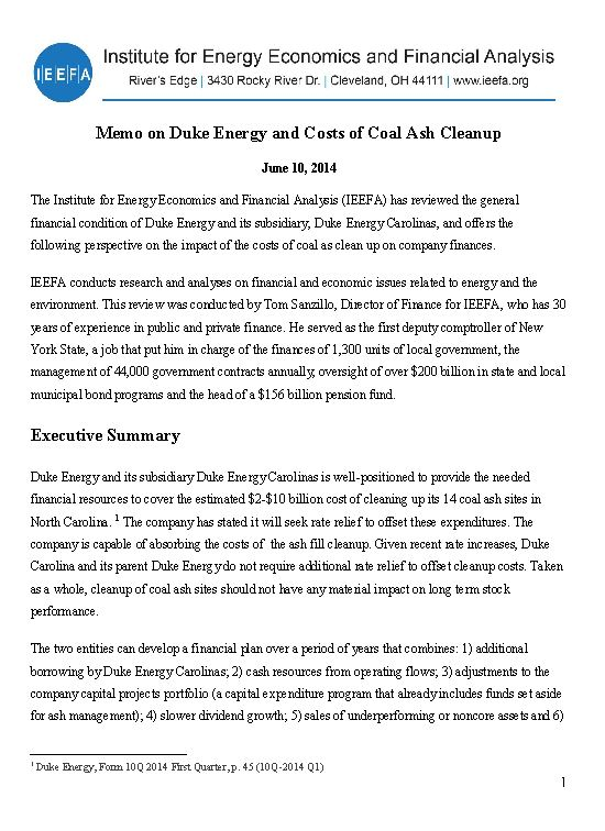Press Release Duke Can Afford To Pay For Coal Ash Cleanup