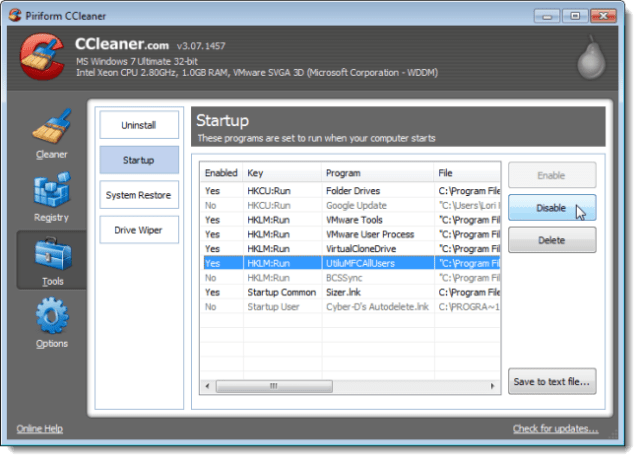 How to Disable Startup Programs in ccleaner