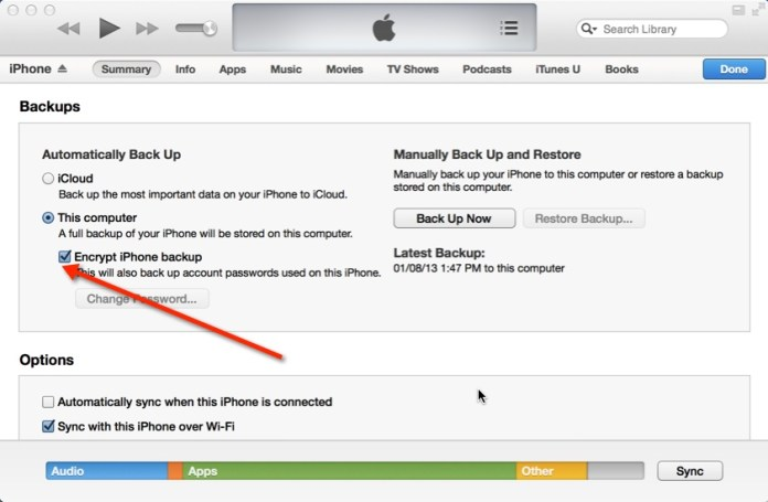 Step 6: How to Backup iPhone to iTunes: Click on itunes encrypt iphone backup