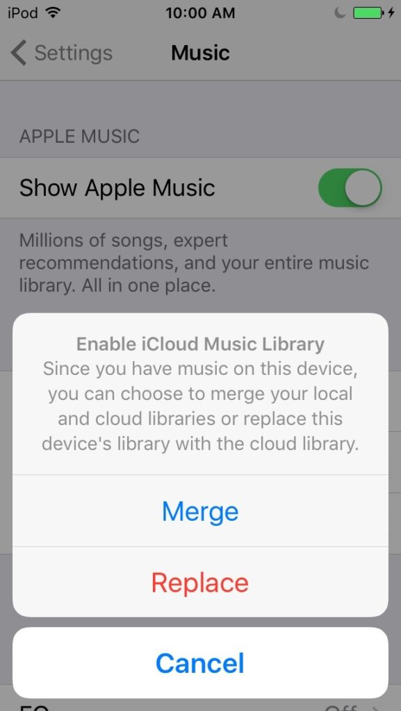 Replace or Merge iCloud Music Library