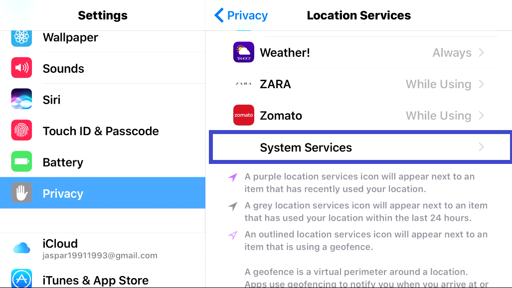 Scroll down and find system services: Apple watch not counting steps