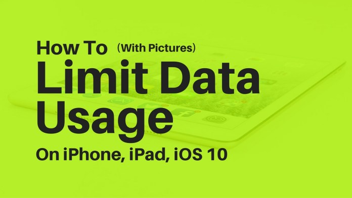 How to limit data usage on iPhone With Pictures