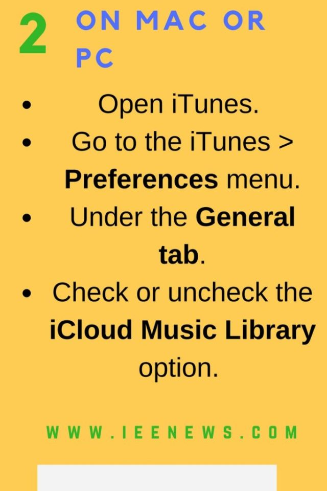 Enable or Disable iCloud Music Library : On Mac or PC