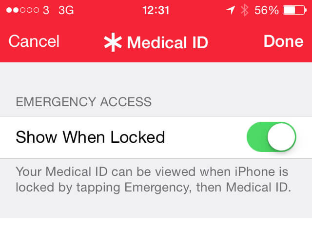 How to put emergency contact on iphone 6 lock screen