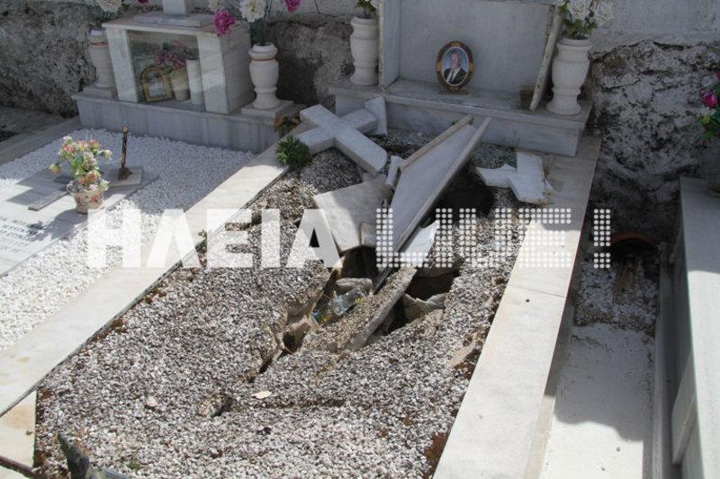 Ενας ακόμα διαλυμένος τάφος στο νεκροταφείο της Ανδραβίδας