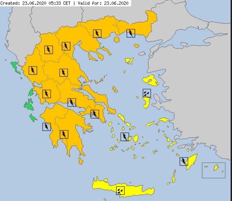 O χάρτης για τον καιρό της Τρίτης