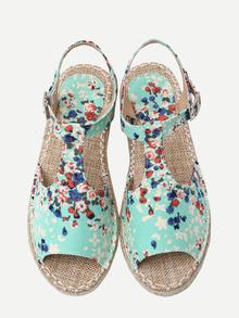 Green Canva Upper Flower Print Espadrille Sandals