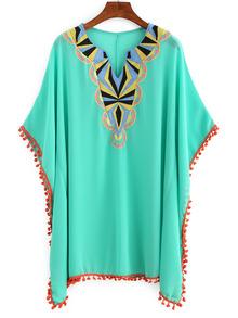 Embroidery Pom Pom Trimmed Poncho Dress