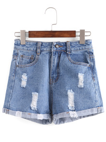 Distressed Rolled Hem Blue Denim Shorts