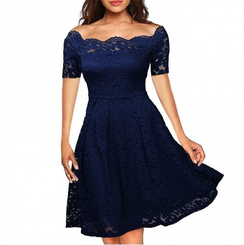 off-shoulder evening lace dress