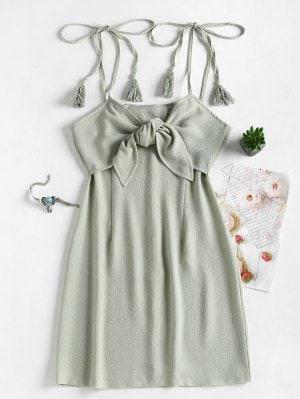 OliveTie Front Tassels Mini Dress