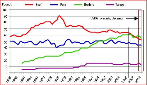 meat and poultry consumption U.S