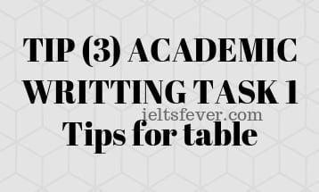 TIP (3) ACADEMIC WRITTING TASK 1 Tips for table