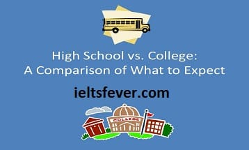 Compare high school learning and college university learning speaking cue card with answer IELTS EXAM