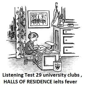 Listening Test 29 university clubs , HALLS OF RESIDENCE
