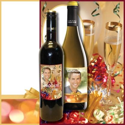 Wijnfles met eigen etiket