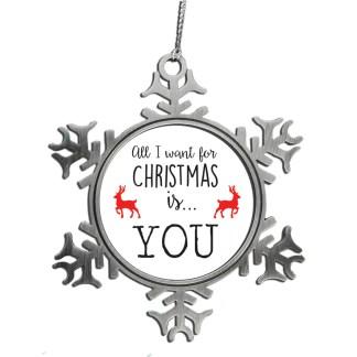 Kersthanger sneeuwvlok met tekst