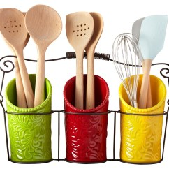 Kitchen Tool Holder Outdoor Oven Utensil Set 4 Pieces 3 Ceramic Crocks 1 Wide Mouth Opening And 7 Height To Hold 12 15 Cooking Utensils For Easy Access