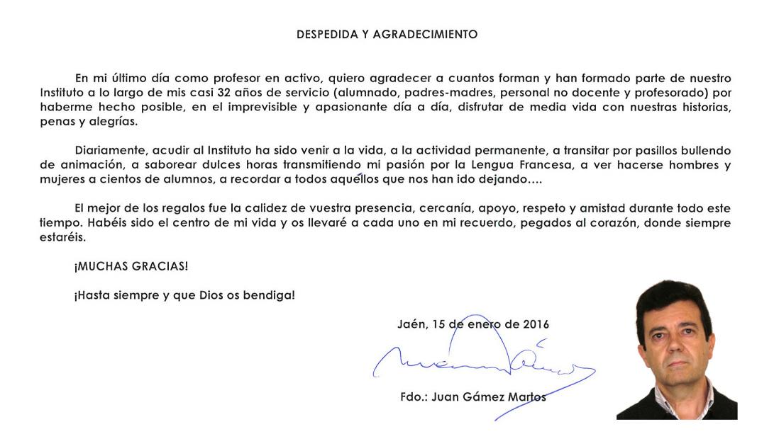 Carta de despedida  Juan Gmez  IES Fuente de la Pea