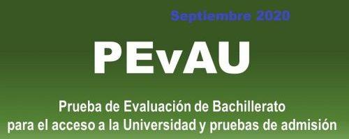 Información importante PEvAU – Convocatoria extraordinaria: 14, 15 y 16 de septiembre de 2020