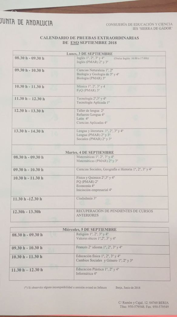 Calendario de examenes de septiembre 2018