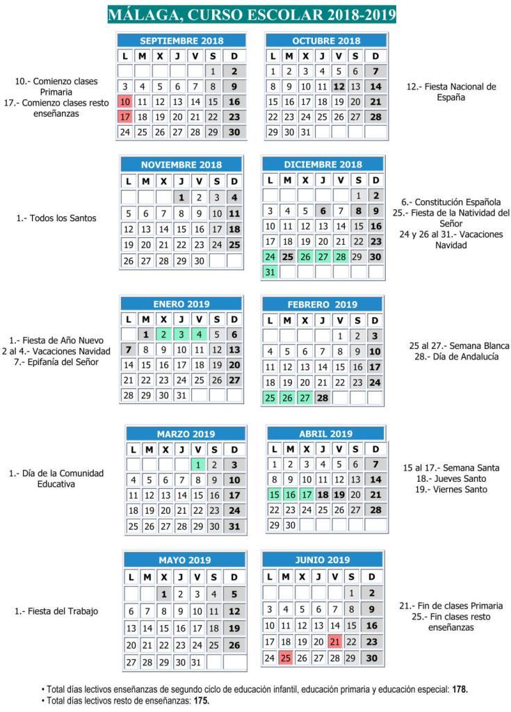 Calendario Escolar Andalucia 2020.Calendario Escolar Ies Sierra De Mijas