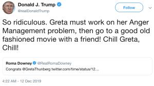 Tweet of Donald Trump criticising Greta Thunberg