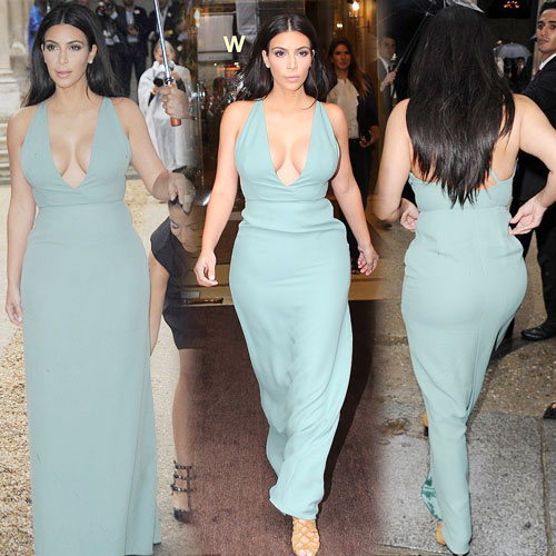 Kim opted the cleavage exposing gown