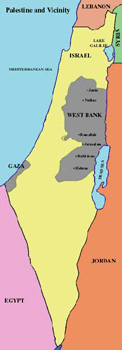 Map of Israel, the West Bank, and Gaza following the 1948 war.