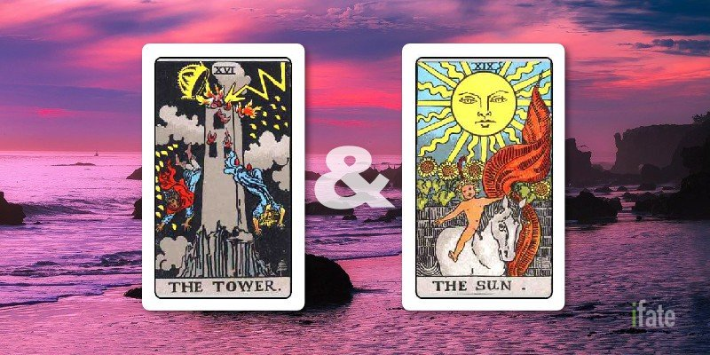 the tower and the sun tarot cards together