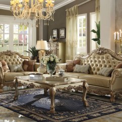 Gold Leather Sofa Set Cana Marcella Old World Living Room Couch Ivory Faux Details About Loveseat