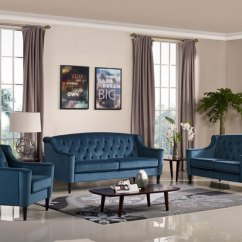 Living Room With Loveseat And Chairs Modern Tables For Cinney Transitional Furniture Blue Velvet Sofa Details About Chair Set