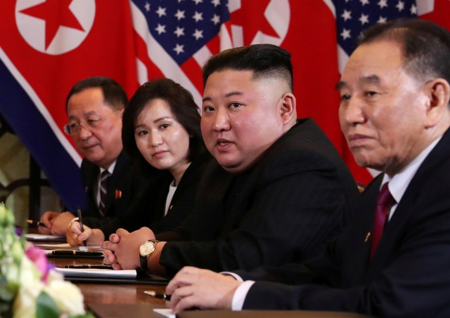North Korea's leader Kim Jong Un attends the extended bilateral meeting in the Metropole hotel with U.S. President Donald Trump during the second North Korea-U.S. summit in Hanoi