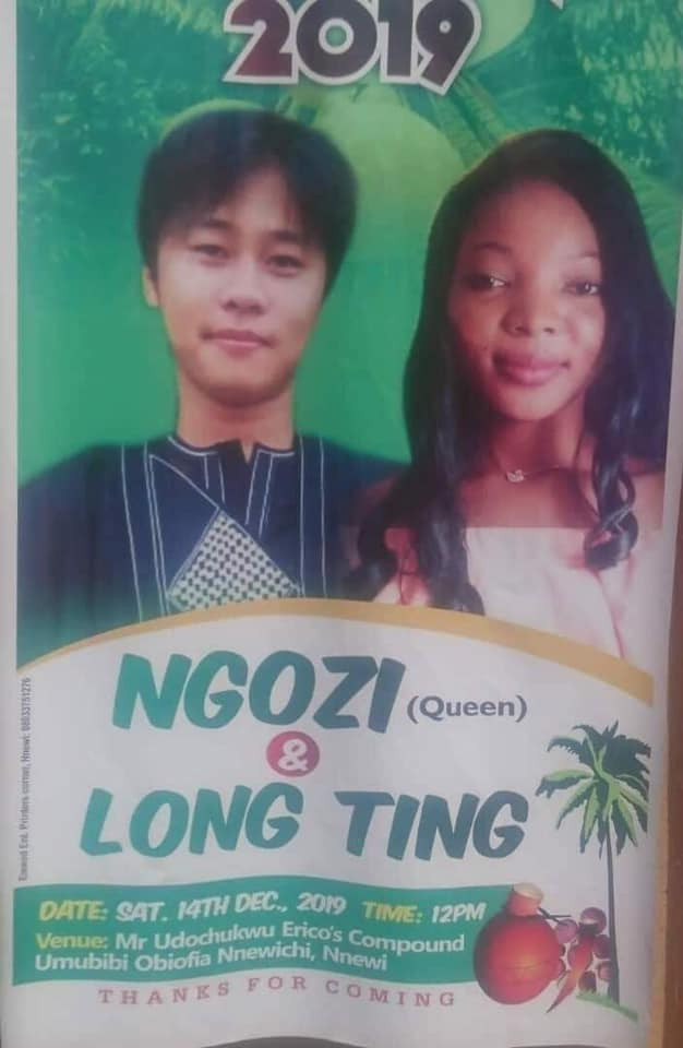 Anambra lady marries Asian heartthrob, Mr Long Ting (photos)