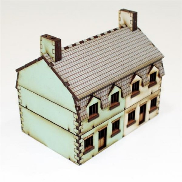Northwest European semi-detached houses, one house rendered green the other is white, these are ideal buildings for any 15mm gaming table.