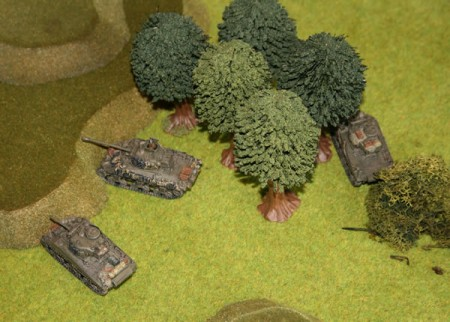 The rest of the Sherman platoon starts to move forward.