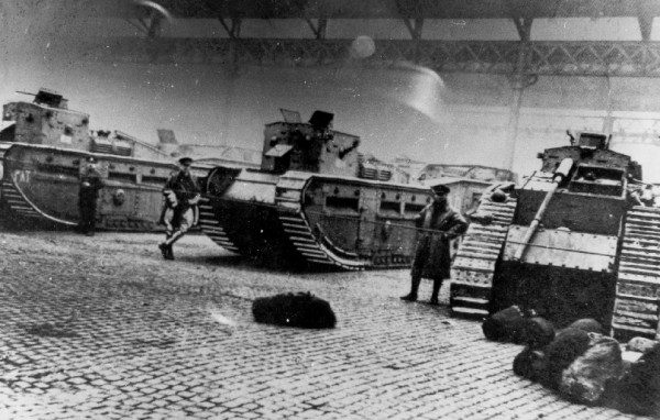 Medium Mark C tanks and soldiers at the Glasgow Cattle Market in the Gallowgate