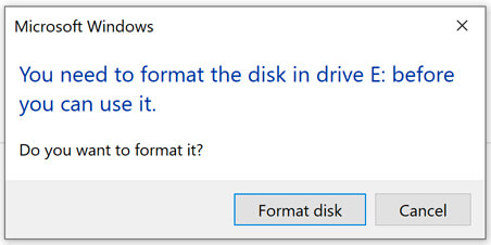 Unable to access the device, the type of the file system is raw