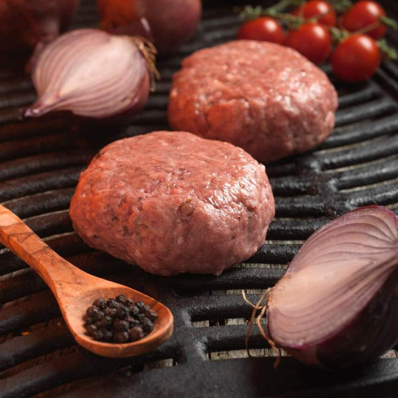 Newly Weds Foods Phoenix Tinted Beef Burger Mix and Chopped Onion