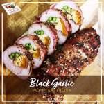Mushroom Stuffed Black Garlic Pork Tenderloin