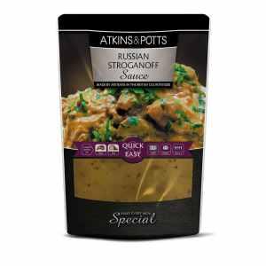 Previous pack design of Atkins & Potts Stroganoff Sauce