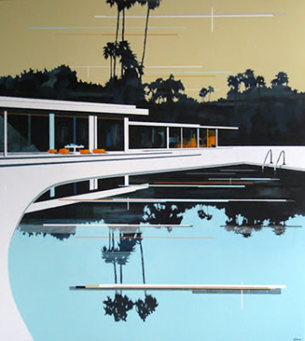 Modern Home, Pool and Cream Sky by Paul davies