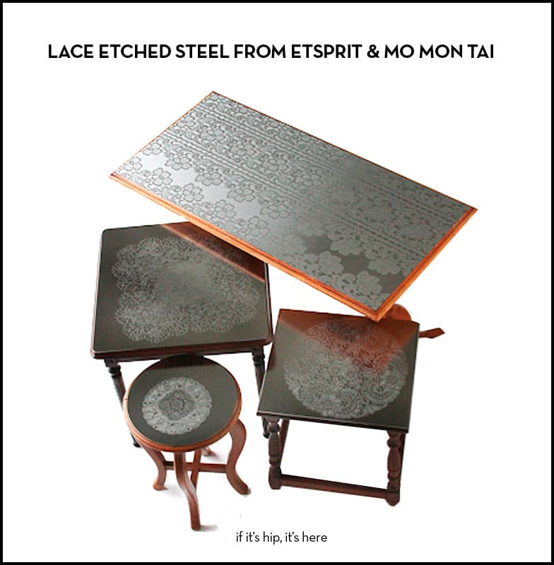 Lace etched steel furniture