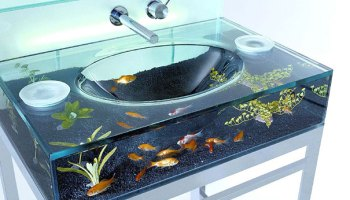 Kitchen Island Fish Tank waterscape aquarium exhibit - architectural fish tanks