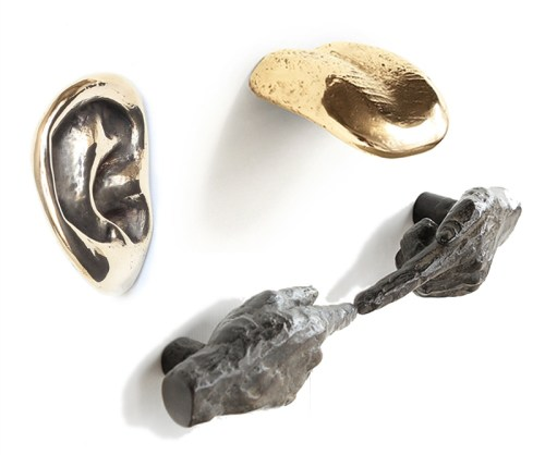 Read more about the article Human Hardware Cast In Bronze. Tongues, Ears and Hands Handles and Drawer Pulls.
