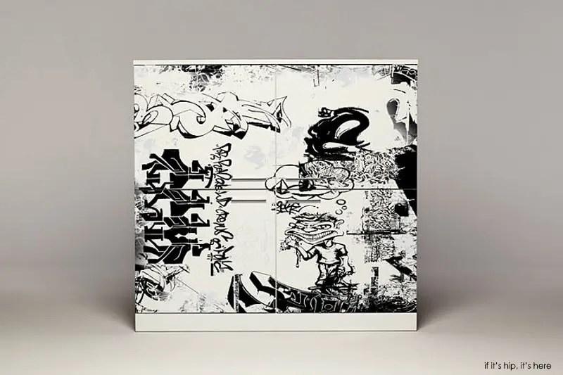 Graffiti printed cabinet