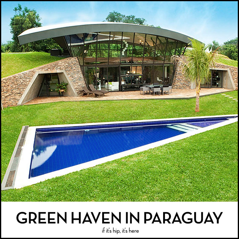 Modern House With Zen Garden And Green Roof: Green Haven In Paraguay Submerged Homes With Green Roof