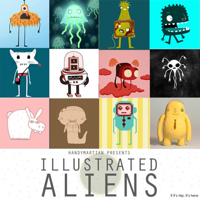 12 months of illustrated aliens